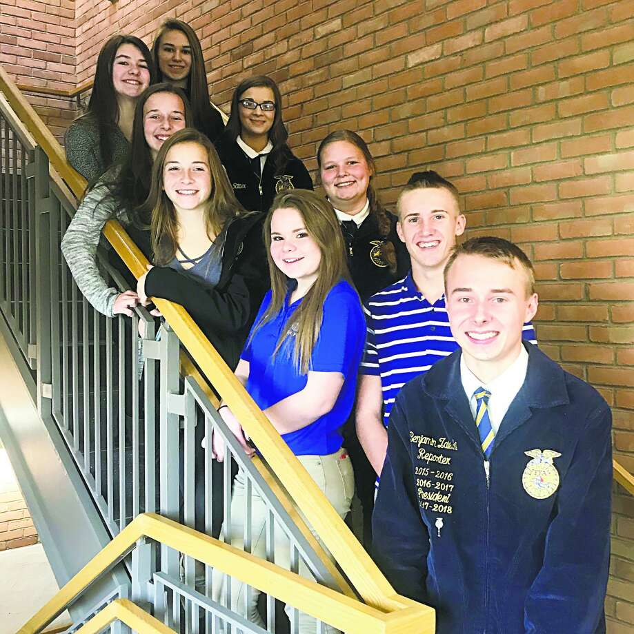 (From left): Abi Ornowski, Mollie Zaleski, Casey Baranski, Lucy Wiley, Lindsay Ritter, Hannah Mills, Kelsie Goretski, Ty Knoblock, and Ben Zaleski attended the Regional Youth Discussion Meet with Baranski, Ritter, Mills, Goretski, Knoblock and Zaleski competing. Photo: Submitted Photo