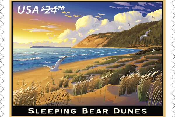 Sleeping Bear Dunes (Priority Mail Express):  With this Priority Mail Express stamp, the Postal Service celebrates the Sleeping Bear Dunes, a national park in Michigan that takes its name from a Native American legend. ©2017 USPS