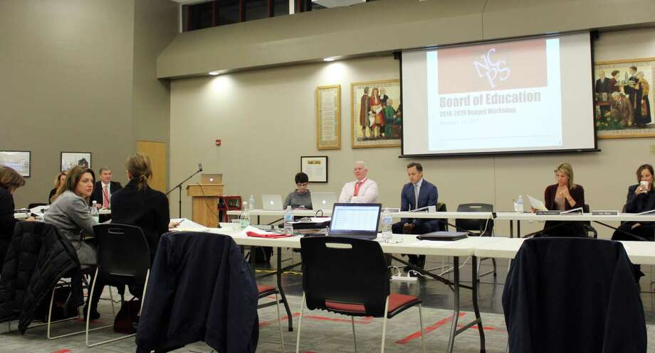 District faculty and administration in New Canaan, Conn. met on Dec. 11, 2017 at the high school to discuss next year's budget goals, including a proposed alternative high school. Photo: Erin Kayata / Hearst Connecticut Media / New Canaan News