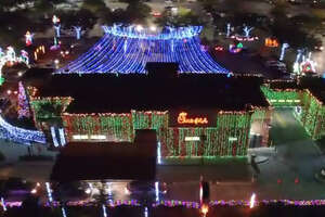 A Chick-fil-A in Tampa went all out for Christmas, decorating its store with lights to bring in the holiday cheer.
