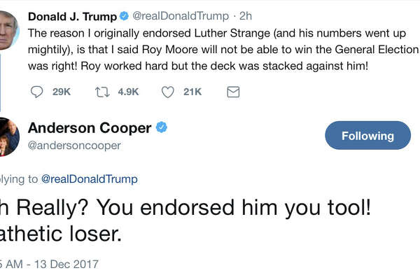"CNN's Anderson Cooper said Wednesday morning that a tweet from his account responding to President Donald Trump, calling him a ""pathetic loser,"" was not posted by him."