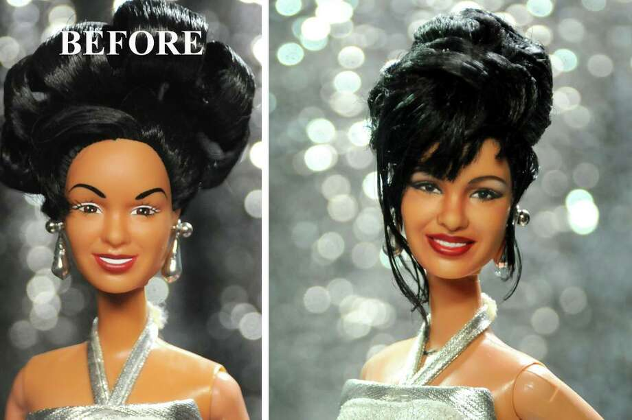 California-based artist Noel Cruz completely reworked the face of a 1997 figurine by Arm Enterprise to beautifully look like the Queen of Tejano. Photo: Provided By Noel Cruz