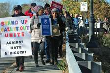 A march against hate and bigotry organized   last month in Wilton.
