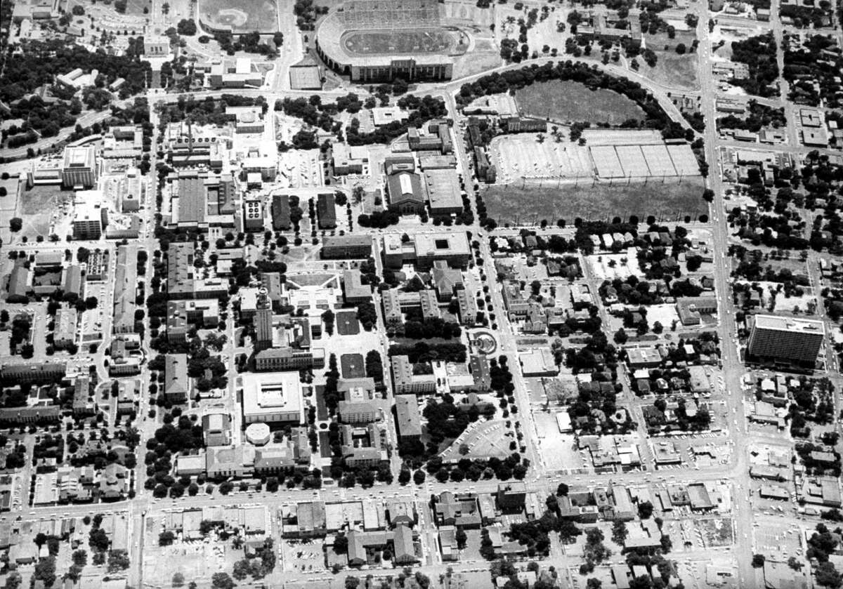 Aerial view of campus of University of Texas where sniper Charles J. Whitman shot people from clock tower. (Photo by Donald Uhrbrock/The LIFE Images Collection/Getty Images)