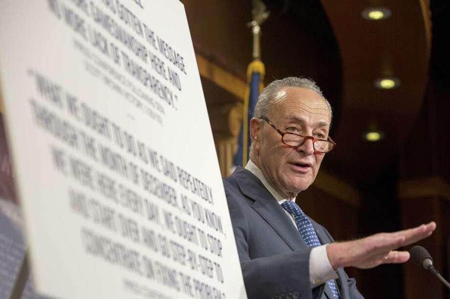 WASHINGTON, DC - DECEMBER 13:  Senate Democratic Leader Sen. Chuck Schumer (D-NY) speaks at a press confernce on urging the GOP To Slow Down Republican Tax Bill In Senate on December 13, 2017 in Washington, DC.  (Photo by Tasos Katopodis/Getty Images) ORG XMIT: 775091176 Photo: Tasos Katopodis, Getty / 2017 Getty Images