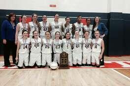 The Liberty eighth-grade girls' basketball team poses with the IESA Class 4A state championship in 2013. The group includes current EHS seniors Lauren Taplin, Rachel Vinyard, Kate Martin, Rachel Pranger and Sydney Kolnsberg.