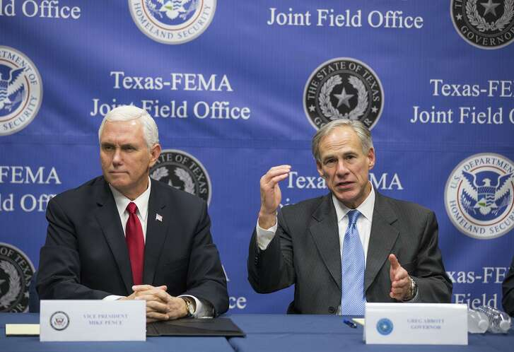 U.S. Vice President Mike Pence, and Texas Gov. Greg Abbott speak on Hurricane Harvey relief and recovery efforts at FEMA headquarters in north Austin,, Texas, on Wednesday, Nov. 15, 2017. Texas' first responders now have access to preemption, one of promised benefits of Gov. Greg Abbott opting in to a federal government and AT&T plan to deliver a wireless broadband network to the public safety community.
