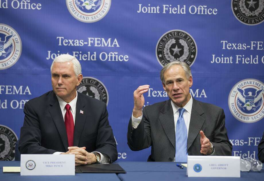 U.S. Vice President Mike Pence, and Texas Gov. Greg Abbott speak on Hurricane Harvey relief and recovery efforts at FEMA headquarters in north Austin,, Texas, on Wednesday, Nov. 15, 2017. Texas' first responders now have access to preemption, one of promised benefits of Gov. Greg Abbott opting in to a federal government and AT&T plan to deliver a wireless broadband network to the public safety community. Photo: Ricardo B. Brazziell /Associated Press / Austin American-Statesman
