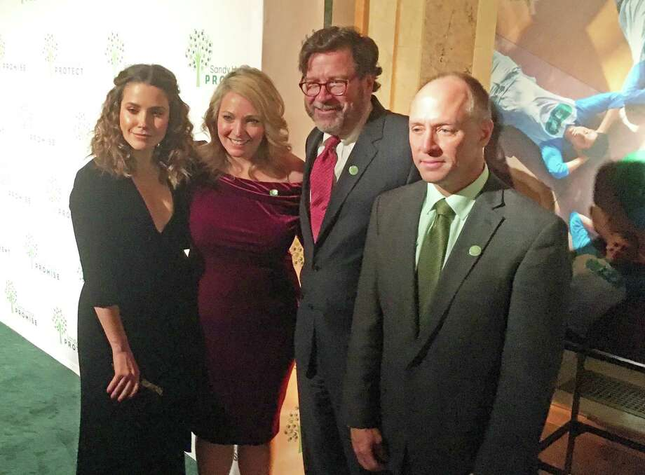 From left Actress Sophia Bush; Nicole Hockley, a co-founder of Sandy Hook Promise; Bill Sherlach, whose wife, Mary, was the school psychologist killed; and Mark Barden, another co-founder of the group. Hockley's and Barden's sons Dylan and Daniel were killed during the mass shooting. Photo: Dan Haar
