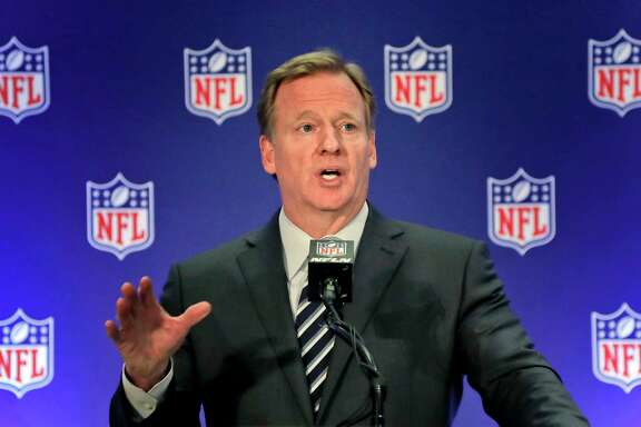"FILE - In this Oct. 18, 2017, file photo, NFL commissioner Roger Goodell speaks during a news conference in New York. An NFL spokesman says Commissioner Roger Goodell views the agreement reached on an extension last week as his final contract overseeing the league. Spokesman Joe Lockhart said at the owners meetings Wednesday, Dec. 13, 2017, that Goodell ""has been clear that he views this as his last contract and will allow him to both deal with some of the important issues that we know are on the horizon."""