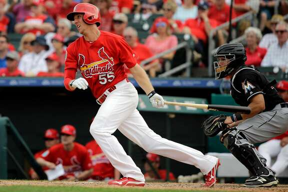 St. Louis Cardinals' Stephen Piscotty bats during the sixth inning of an exhibition spring training baseball game against the Miami Marlins Thursday, March 3, 2016, in Jupiter, Fla. (AP Photo/Jeff Roberson)