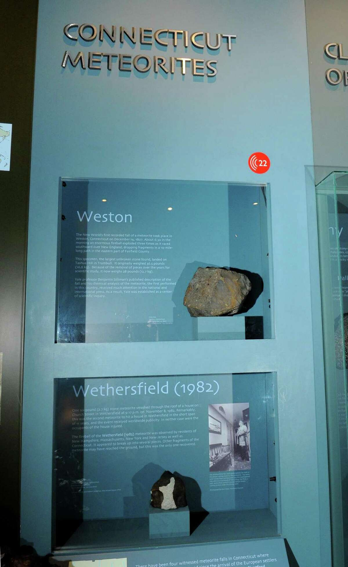 A view of the Weston Meteorite, at top, along with the other Connecticut meteor on display at the Yale Peabody Museum of Natural History in New Haven, Conn., on Wednesday Dec. 6, 2017.