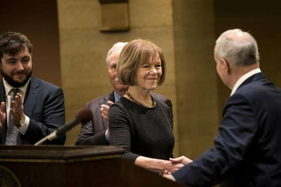 ST. PAUL, MN - DECEMBER 13: Minnesota Governor Mark Dayton introduces Lt. Governor Tina Smith as the replacement to Senator Al Franken on December 13, 2017 at the Minnesota State Capitol in St. Paul, Minnesota. Franken resigned last week after multiple allegations of sexual harassment. (Photo by Stephen Maturen/Getty Images)