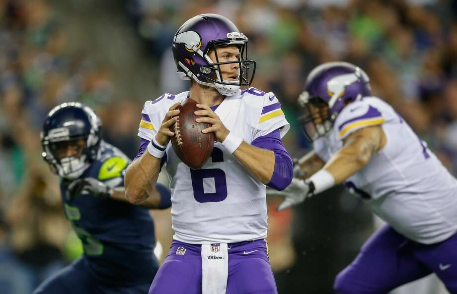 Former Vikings quarterback Taylor Heinicke will be the Texans' backup on Sunday. They promoted him from the practice squad on Thursday. Photo: Otto Greule Jr/Getty Images