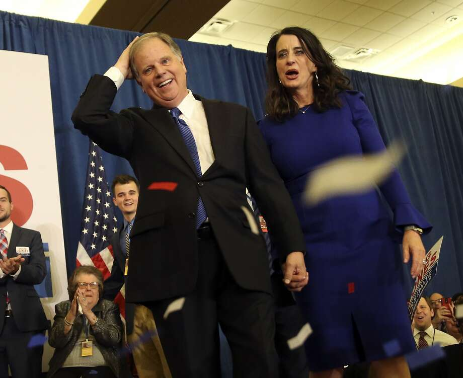 "A blue tide swept across Alabama on Tuesday, carrying Democrat (and U. of Alabama graduate) Doug Jones to his party's first U.S. Senate win since 1992 in the solidly ""red"" Republican state. Photo: John Bazemore, Associated Press"