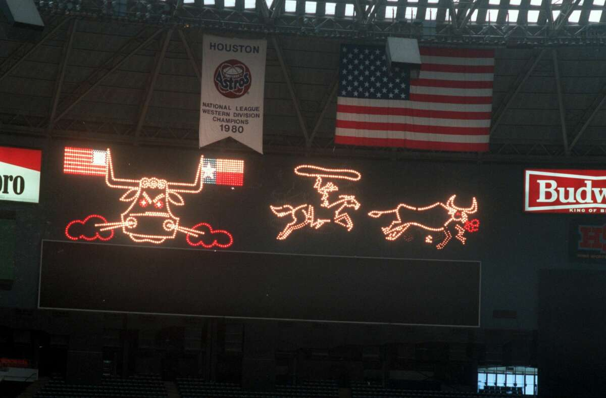 Seen here on July 26, 1988, the Astrodome scoreboard, featuring a spectacular light show of snortin bulls and rip-roaring cowboys, would be torn down within the next two months to make way for additional seats. The original scoreboard featured a Wild West show after every Astros home run or victory.