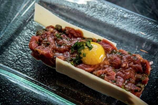 Lamb tartare is shown at Luciene restaurant within the Hotel Alessandra on Friday, Sept. 29, 2017, in Houston. ( Brett Coomer / Houston Chronicle )