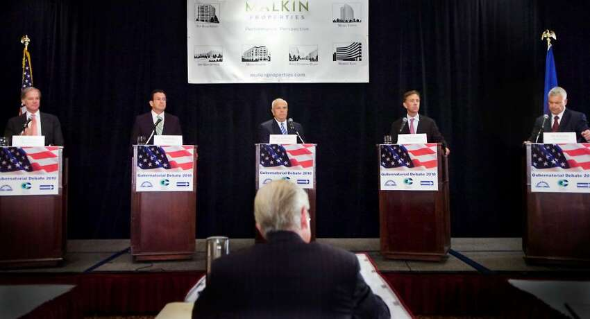 Candidates (L to R) Republican Tom Foley, Democrat Dan Malloy, Republican Michael Fedele, Democrat Ned Lamont and Republican Oz Griebel participate in the 2010 Gubernatorial Debate at he Stamford Plaza Hotel & Conference Center in Stamford, Conn. on Tuesday June 29, 2010.