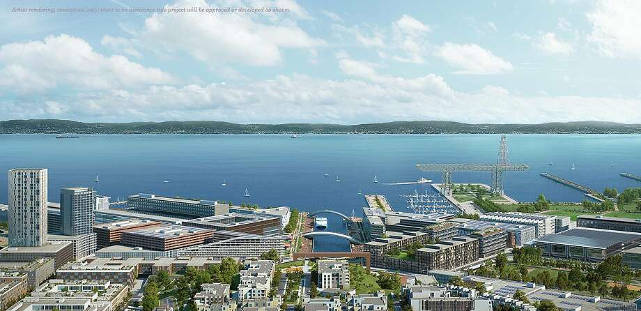 A revised master plan for the Hunters Point Naval Shipyard would mix housing and commercial development with large public areas. Photo: Transparent House