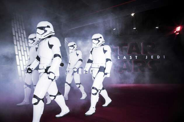 LONDON, ENGLAND - DECEMBER 12:  Stormtrooper march the red carpet at the European Premiere of Star Wars: The Last Jedi at the Royal Albert Hall on December 12, 2017 in London, England.  (Photo by Gareth Cattermole/Getty Images for Disney)