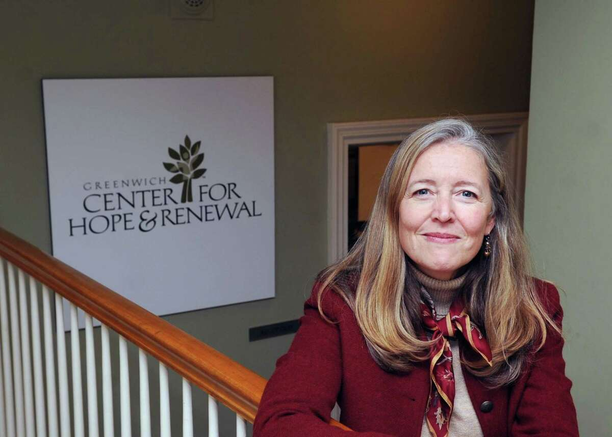"""Heather Wright, director of the Center for Hope and Renewal in the center located at 237 Taconic Road in Greenwich, Conn., Tuesday, Dec. 12, 2017. The Center for Hope and Renewall, that calls itself a """"faith-friendly professional counseling and resource center,"""" has been operating out of the Stanwich Congregational Church since Sept. 2007 without formal approval from the Planning and Zoning Commission. Neighbors are upset that the center is operating a business, bringing potentially dangerous mentally unstable people into their residential neighborhood. The Stanwich Church is now requesting P&Z approval for the center."""