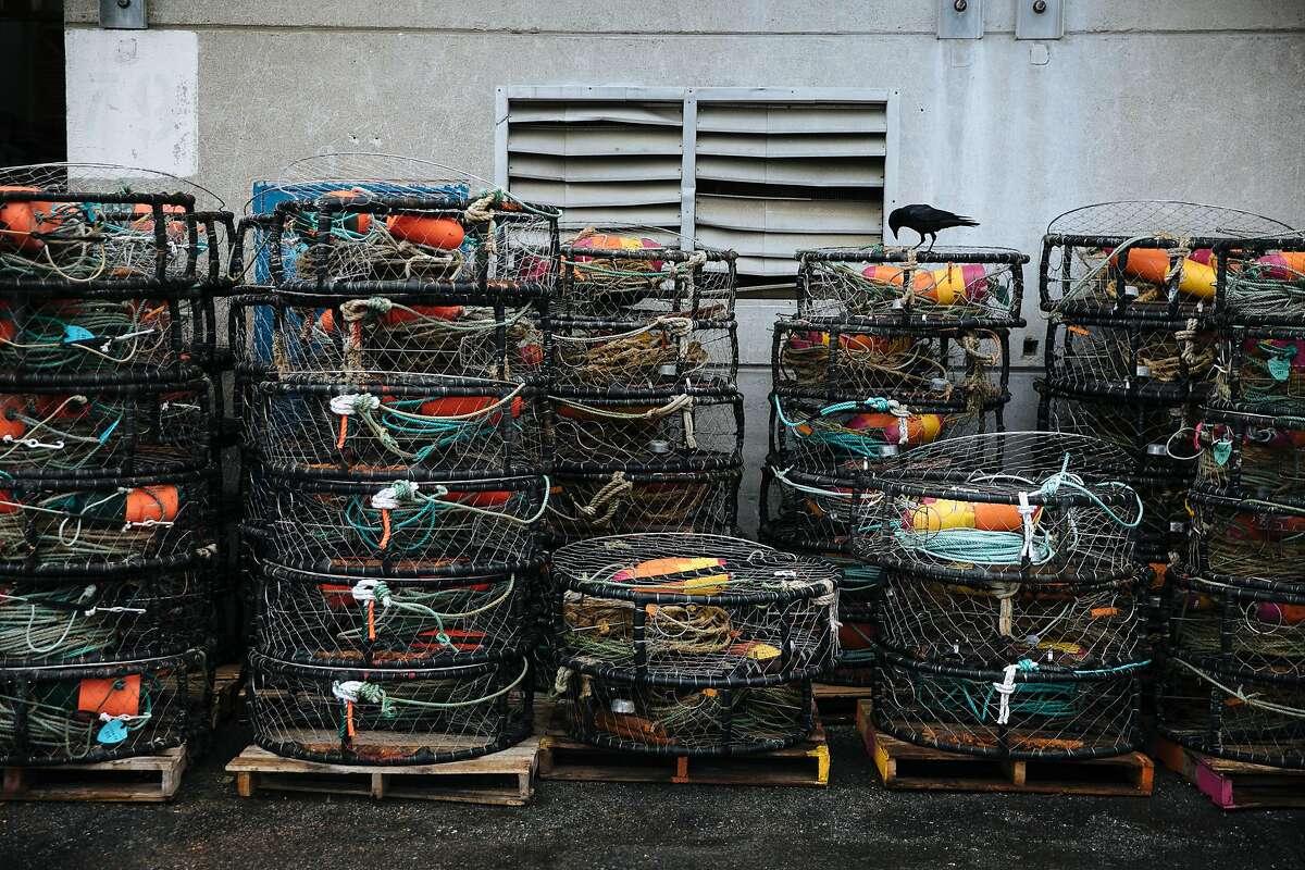 Crab pots line the walls at Pier 45 in San Francisco, Calif. Wednesday, November 15, 2017.