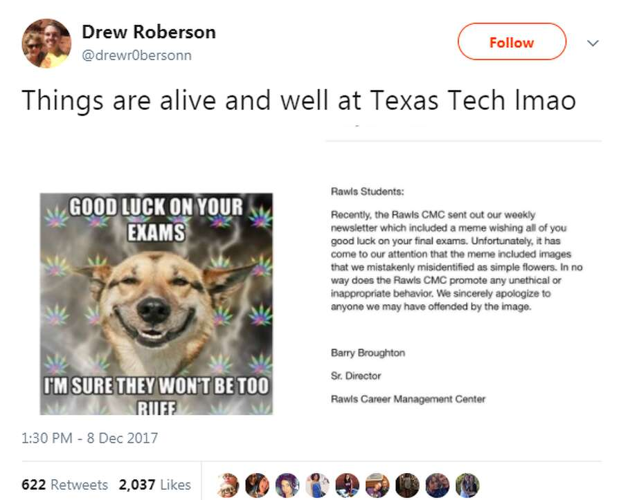 """Things are alive and well at Texas Tech lmao,"" @drewr0bersonn tweeted on Dec. 8."