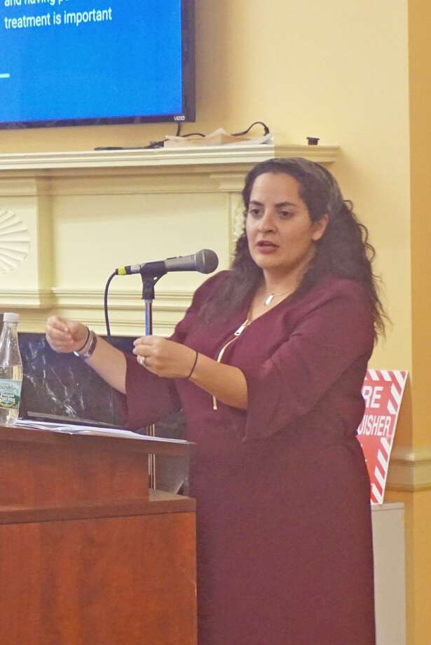 Regine Galanti, founder of Long Island Behavioral Psychology, spoke to parents and school professionals about child anxiety at Carmel Academy on Monday night. Photo: Emilie Munson