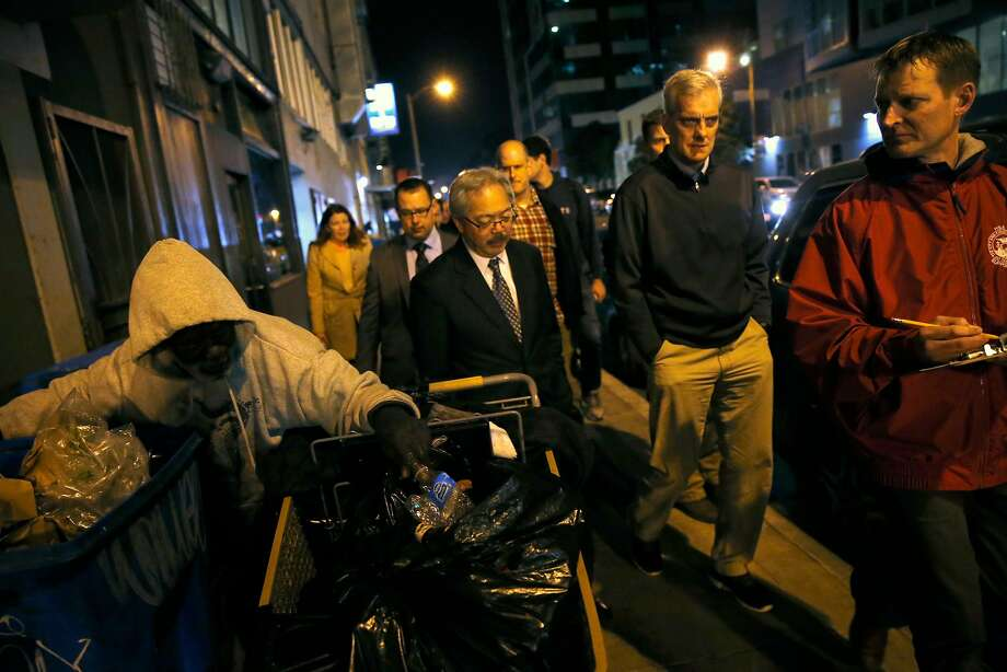 Mayor Ed Lee (center) with White House official Denis McDonough (center right) and city official Trent Rhorer (right) at a homeless count. Photo: Scott Strazzante, The Chronicle