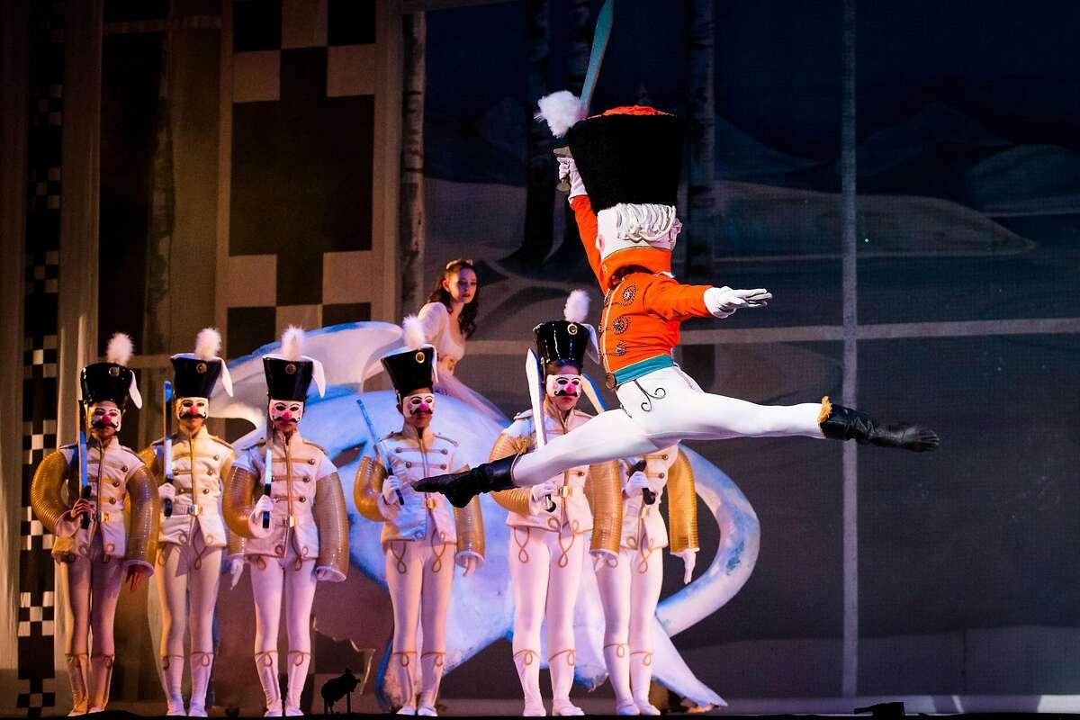 "Ramona Kelley as Marie and Seyong Kim as The Nutcracker, with company dancers in Oakland Ballet Company�s production of Graham Lustig�s ""The Nutcracker."" Photo: John Hefti"