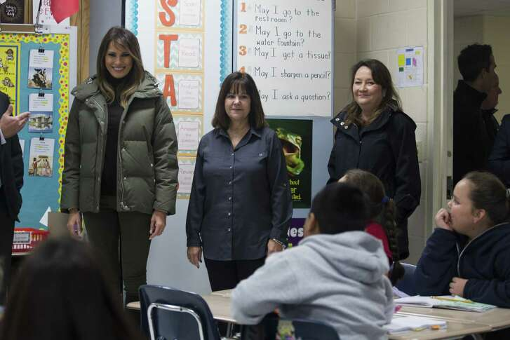 First lady Melania Trump (from left), second lady Karen Pence, and Texas first lady Cecilia Abbott greet students in Aransas Pass. A reader criticizes coverage of other event.