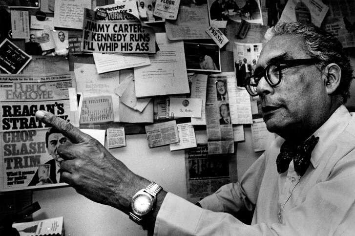 Award-winning journalist Simeon Booker, seen in 1982 in Washington, D.C., died Sunday.