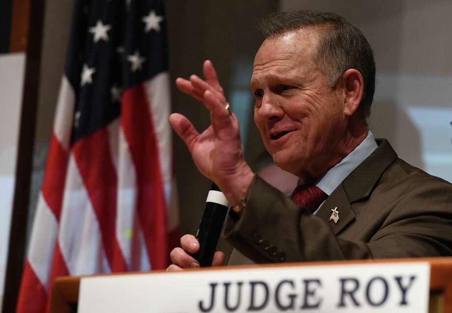 Republican candidate for U.S. Senate Roy Moore addresses supporters after a historic loss to Democrat Doug Jones on Tuesday in Alabama. Photo: Miguel Juarez Lugo /ZUMAPRESS.COM /TNS / Zuma Press
