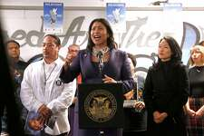 Acting Mayor of San Francisco London Breed meets with members of the United Palayaz, on Wednesday December 13, 2017,  to promote a gun buy-back program happening this weekend in San Francisco, Calif.