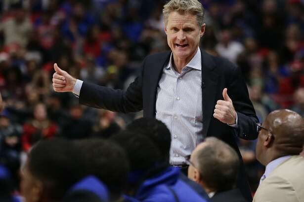 Golden State Warriors coach Steve Kerr talks to his team during the first quarter of an NBA basketball game against the Detroit Pistons on Friday, Dec. 8, 2017, in Detroit. (AP Photo/Duane Burleson)