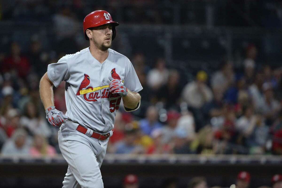 St. Louis Cardinals' Stephen Piscotty walks during the second inning of a baseball game against the San Diego Padres on Tuesday, Sept. 5, 2017, in San Diego. (AP Photo/Orlando Ramirez)