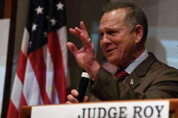 Republican candidate for U.S. Senate Roy Moore addresses supporters after a historic loss to Democrat Doug Jones on Dec. 12, 2017 in Montgomery, Ala. (Miguel Juarez Lugo/Zuma Press/TNS)