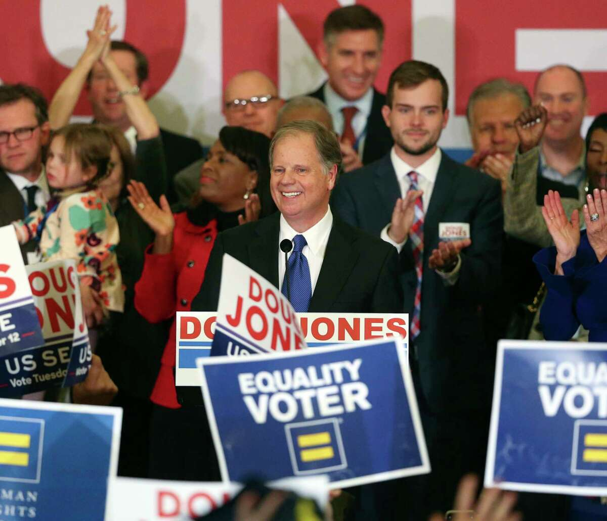 Democrat Doug Jones speaks Tuesday, Dec. 12, 2017, in Birmingham, Ala. In a stunning victory aided by scandal, Jones won Alabama's special Senate election, beating back history, an embattled Republican opponent and President Donald Trump, who urgently endorsed GOP rebel Roy Moore despite a litany of sexual misconduct allegations. (AP Photo/John Bazemore)