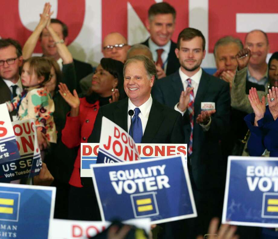 Democrat Doug Jones speaks Tuesday, Dec. 12, 2017, in Birmingham, Ala. In a stunning victory aided by scandal, Jones won Alabama's special Senate election, beating back history, an embattled Republican opponent and President Donald Trump, who urgently endorsed GOP rebel Roy Moore despite a litany of sexual misconduct allegations. (AP Photo/John Bazemore) Photo: John Bazemore, STF / Copyright 2017 The Associated Press. All rights reserved.