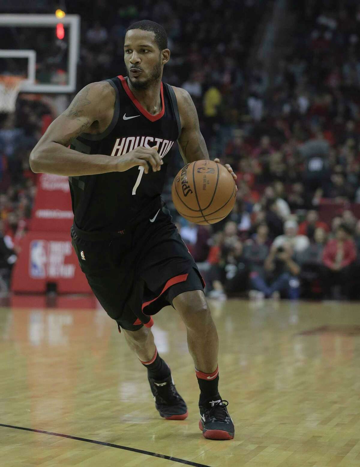 Houston Rockets forward Trevor Ariza (1) drives to the basket in the first quarter against the Charlotte Hornets at the Toyota Center on Wednesday, Dec. 13, 2017, in Houston.