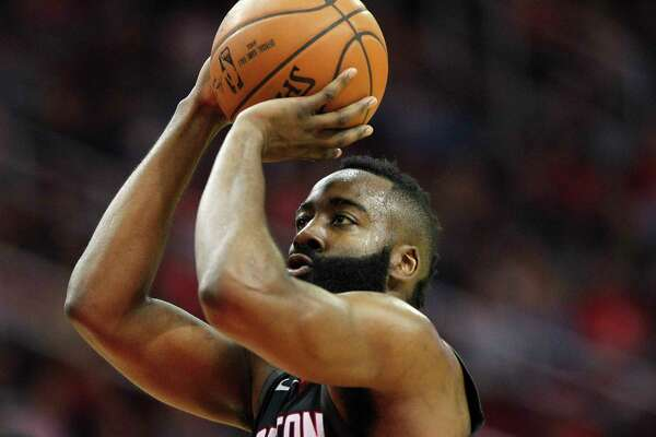 Houston Rockets guard James Harden (13) makes a free throw that was a result of a technical against the Charlotte Hornets at the Toyota Center on Wednesday, Dec. 13, 2017, in Houston.