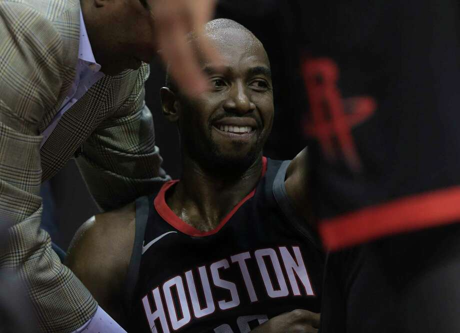 Houston Rockets forward Luc Mbah a Moute (12) reacts on the sidelines against the Charlotte Hornets at the Toyota Center on Wednesday, Dec. 13, 2017, in Houston. Photo: Elizabeth Conley, Houston Chronicle / © 2017 Houston Chronicle