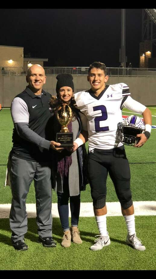 Joe, Ronnie and Ezekiel Coss are pictured after Cedar Ridge beat Hendrickson 30-2 to advance to the state semifinals. Photo: Courtesy Photo