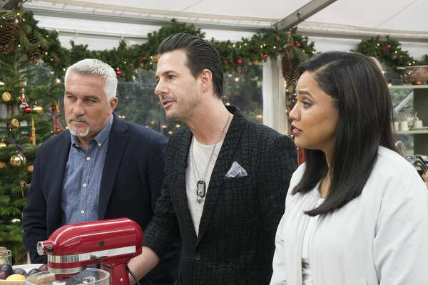 """Paul Hollywood, Johnny Iuzzini and Ayesha Curry on ABC's """"The Great American Baking Show."""""""
