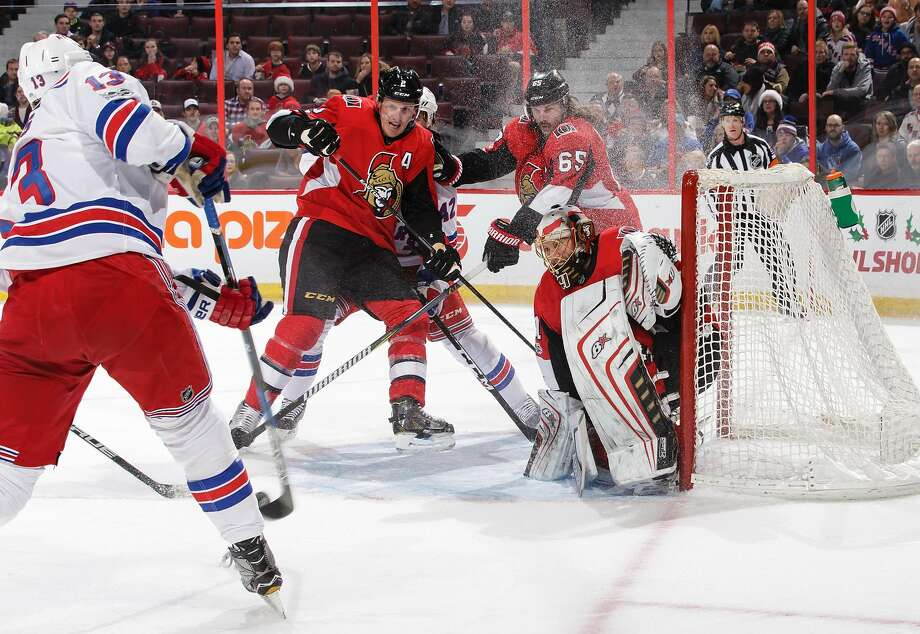 Ottawa's Craig Anderson, who made 27 saves, turns aside a shot by the Rangers' Kevin Hayes. Photo: Jana Chytilova/Freestyle Photo, Getty Images