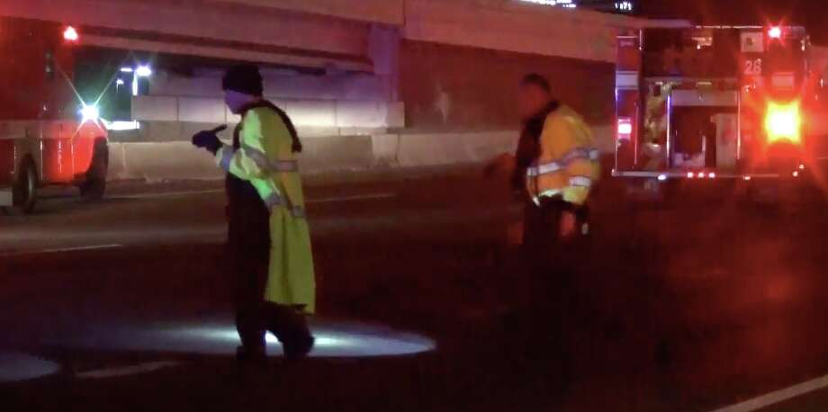 "A man trying to cross the Southwest Freeway was struck and killed by ""several vehicles,"" HPD said. Photo: Metro Video"