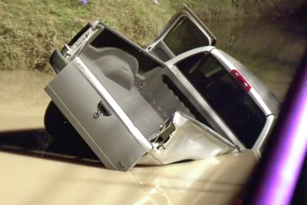 Harris County first responders were searching for the driver of a vehicle that lost control and flipped over the bridge into the South Mayde Creek Wednesday night.