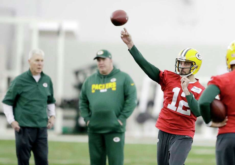 Green Bay Packers quarterback Aaron Rodgers (12) throws during practice at the Don Hutson Center on Wednesday, Dec. 13, 2017 in Ashwaubenon, Wis.   (Adam Wesley/The Post-Crescent via AP) Photo: Associated Press / The Post-Crescent