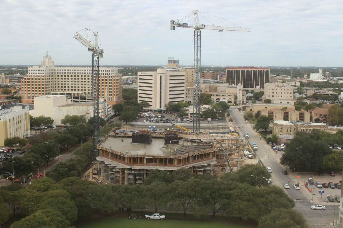 Time-lapse from the OxBlue Corp. show construction progress for the Frost Bank Tower in downtown San Antonio on Oct. 24.