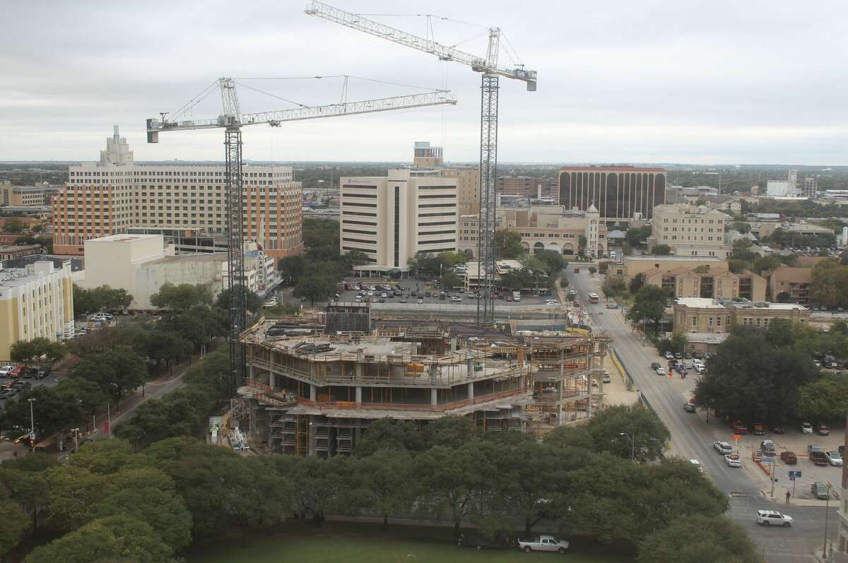 Time-lapse from the OxBlue Corp. show construction progress for the Frost Bank Tower in downtown San Antonio on Oct. 31.